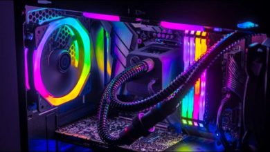 The internals of a gaming PC with RBG LEDs.